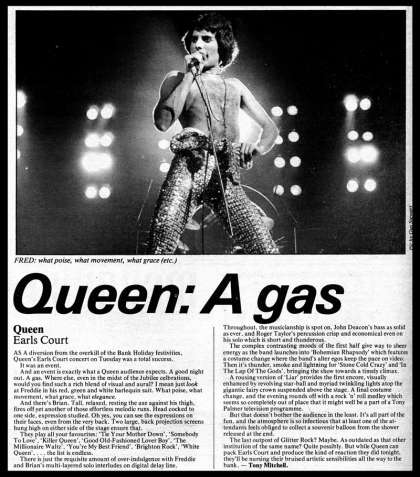 Newspaper review: Queen live at the Earls Court, London, UK [07.06.1977]