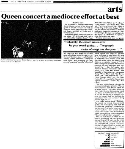 Newspaper review: Queen live at the Garden, Boston, MA, USA [12.11.1977]
