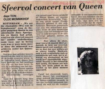 Newspaper review: Queen live at the Ahoy Hall, Rotterdam, The Netherlands [19.04.1978]