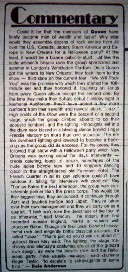 Newspaper review: Queen live at the Municipal Auditorium, New Orleans, LA, USA [31.10.1978]