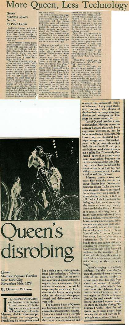 Newspaper review: Queen live at the Madison Square Garden, New York, NY, USA [16.11.1978]