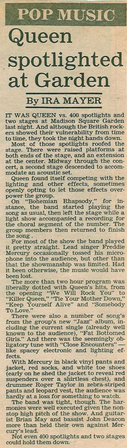 Newspaper review: Queen live at the Madison Square Garden, New York, New York, USA [17.11.1978]