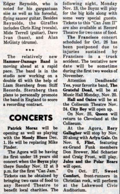 Newspaper review: Queen live at the Coliseum, Richfield, OH, USA [25.11.1978]