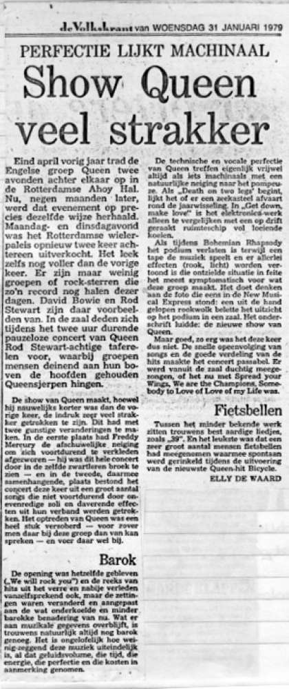 Newspaper review: Queen live at the Ahoy Hall, Rotterdam, The Netherlands [30.01.1979]