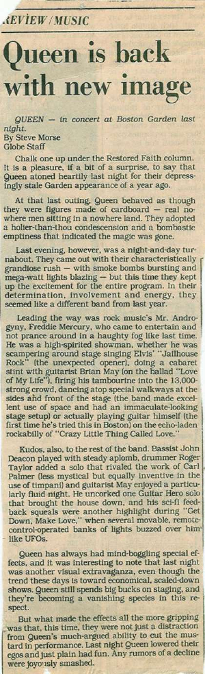 Newspaper review: Queen live at the Garden, Boston, MA, USA [26.09.1980]