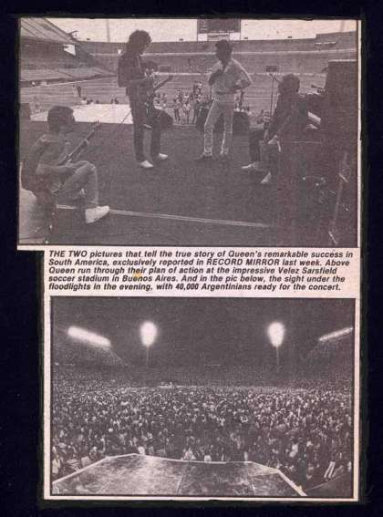 Newspaper review: Queen live at the Estadio José Amalfitani de Velez Sarsfield, Buenos Aires, Argentina [28.02.1981]