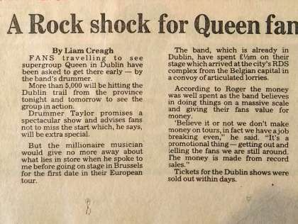 Newspaper review: Queen live at the RDS Simmons Hall, Dublin, Ireland [28.08.1984]