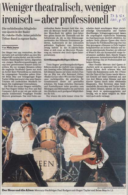 Newspaper review: Queen + Paul Rodgers live at the St. Jakobshalle, Basel, Switzerland [10.04.2005]