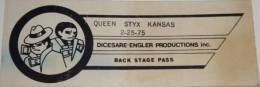 Pittsburgh 25.2.1975 pass (cancelled concert)