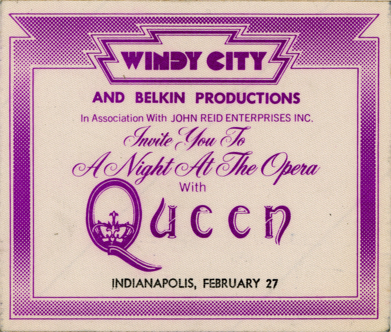 Indianapolis 27.2.1976 backstage pass