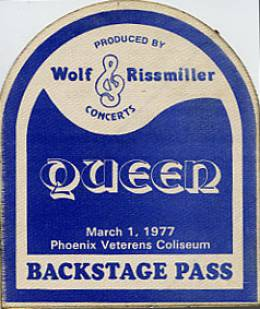 Phoenix 1.3.1977 backstage pass