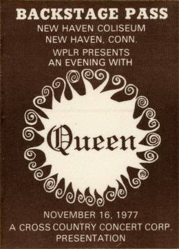 New Haven 16.11.1977 backstage pass