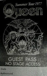 ADATR summer tour 1977 - guest pass
