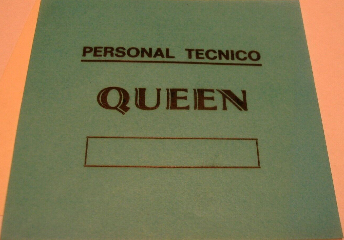 Local crew pass for the Queen concerts in Spain in February 1979