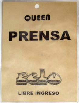 journalist pass of Argentine magazine PELO for the press conference in Buenos Aires