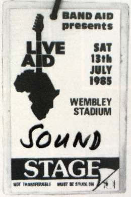 Live Aid stage pass for a sound technician