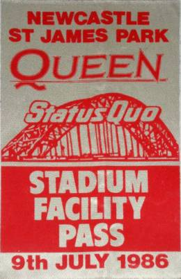 Newcastle 9.7.1986 - stadium facility satin pass
