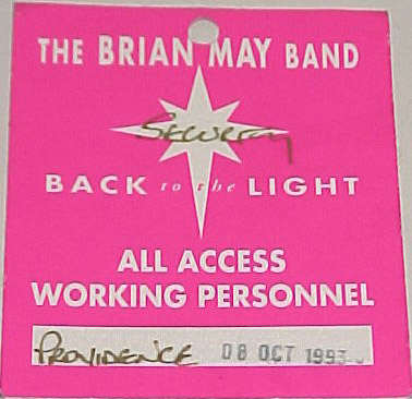 Providence 8.10.1993 working pass [Brian May]
