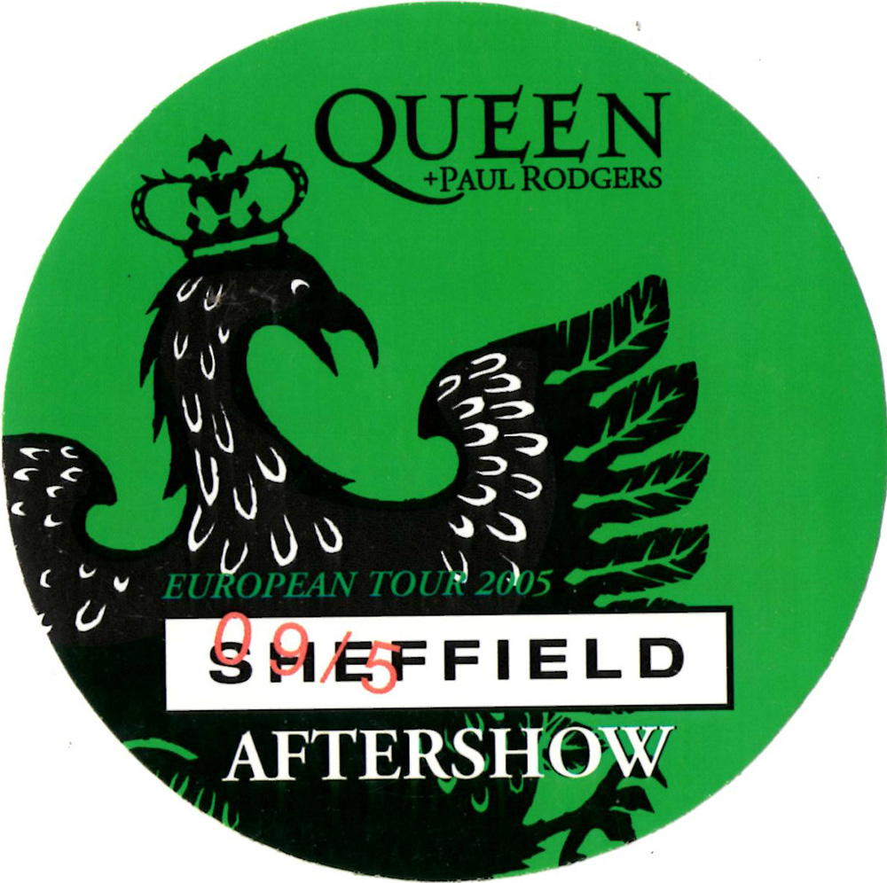 Sheffield 9.5.2005 aftershow pass