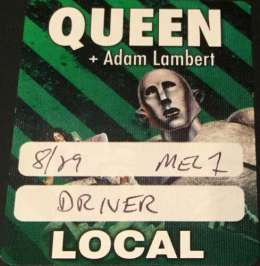Driver pass for the Q+AL gig in Melbourne on 03.03.2018