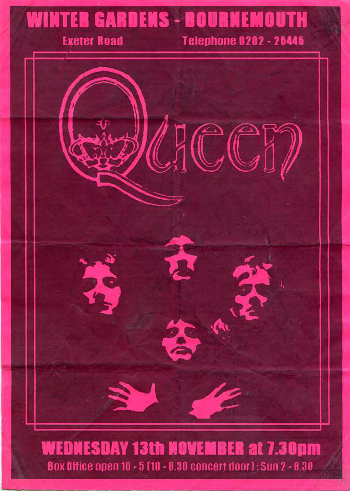Queen in Bournemouth on 13.11.1974