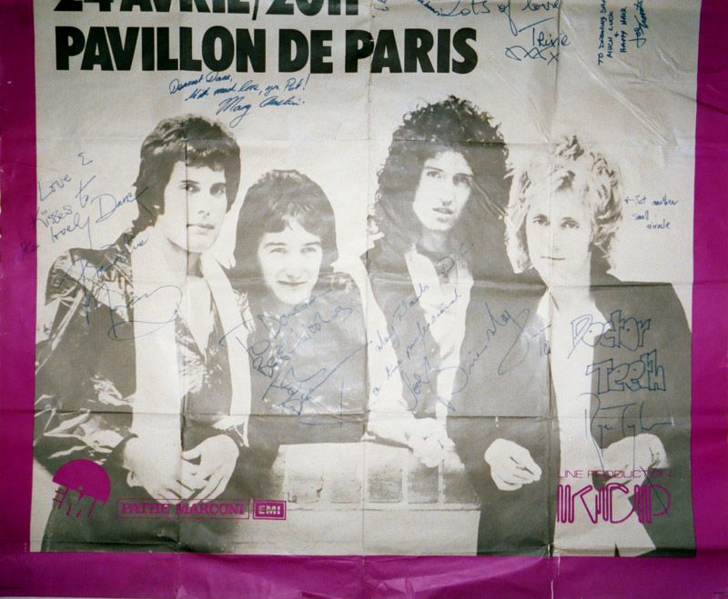 Queen in Paris on 24.04.1978 - signed for Dane Clark (roadie)
