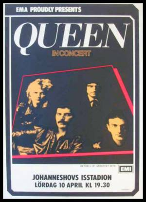 Poster - Queen in Stockholm on 10.04.1982