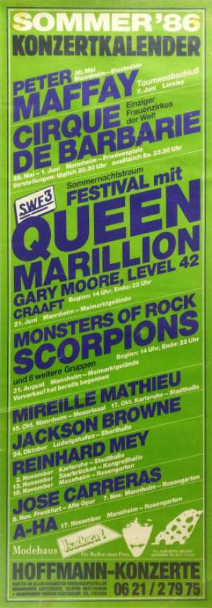 Poster - Queen in Mannheim on 21.06.1986
