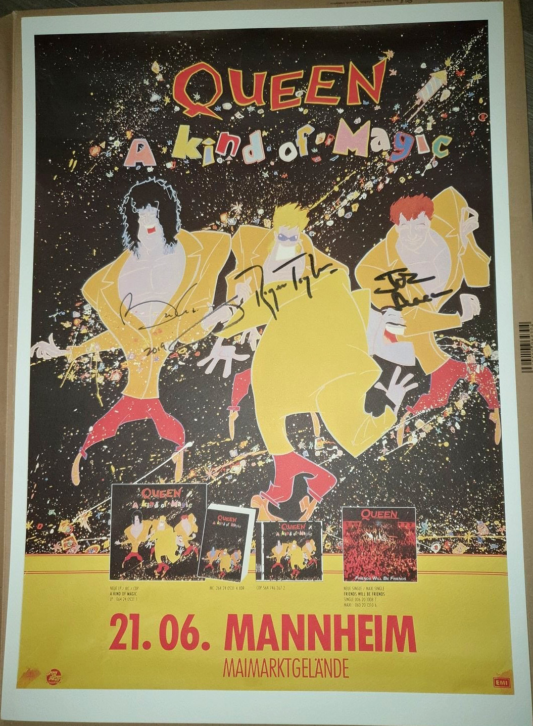 Queen in Mannheim on 21.06.1986 - autographed poster
