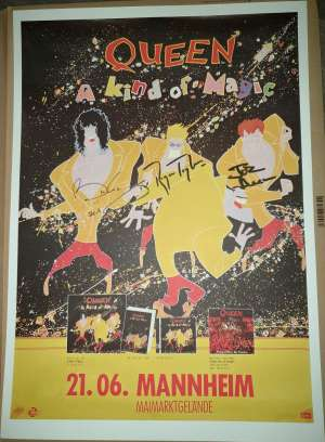 Poster - Queen in Mannheim on 21.06.1986 - autographed poster