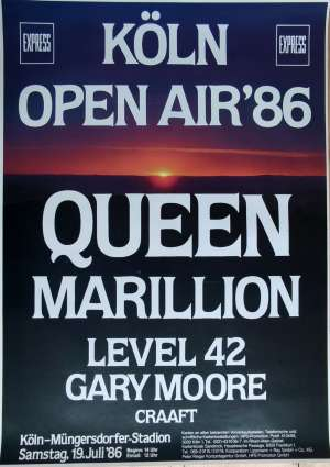 Poster - Queen in Cologne on 19.07.1986