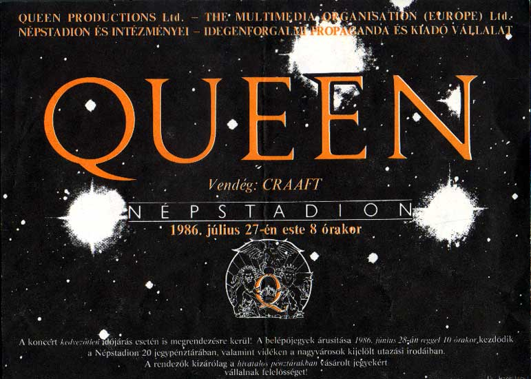 Concert poster: Queen in Budapest on 27.07.1986