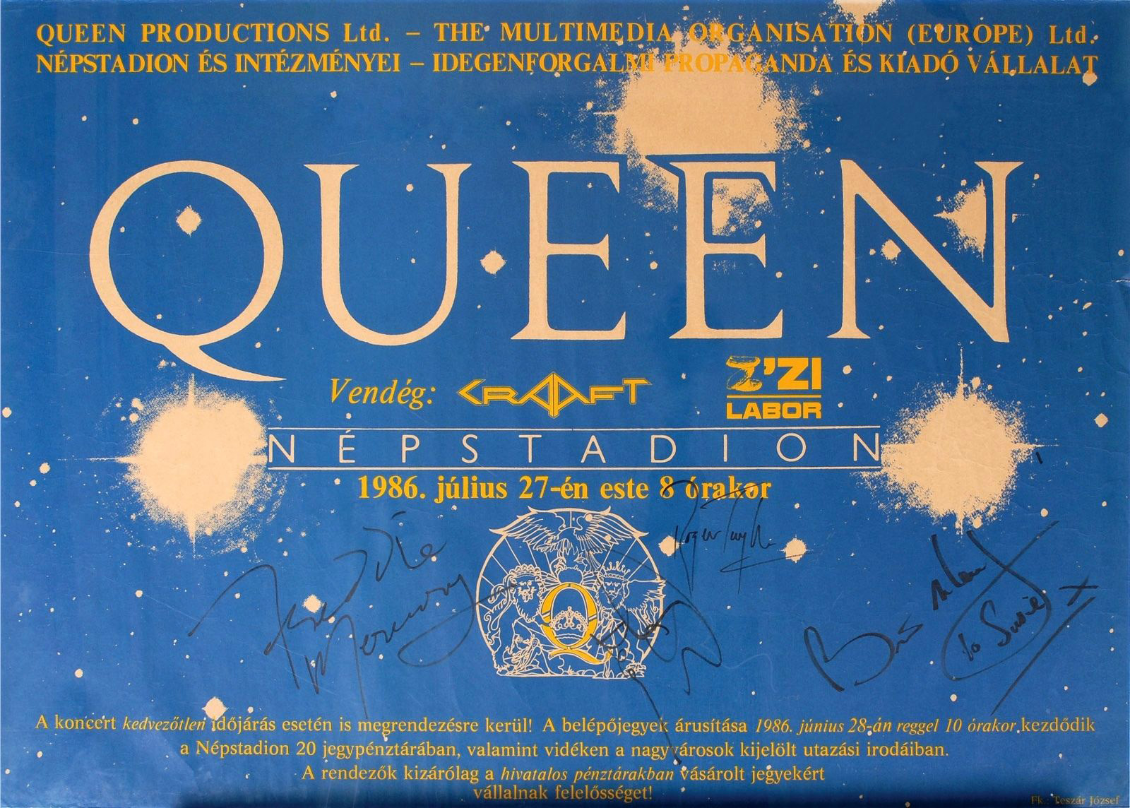 Queen in Budapest on 27.07.1986 - autographed