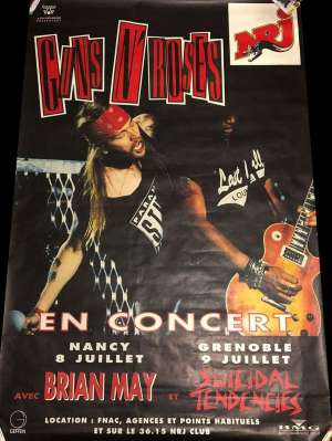 Poster - Guns'n'Roses and Brian May in Nancy and Lyon in 1993