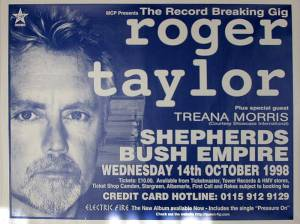Poster - Roger Taylor in London on 14.10.1998