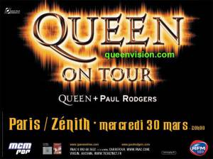 Poster - Queen + Paul Rodgers in Paris on 31.03.2005