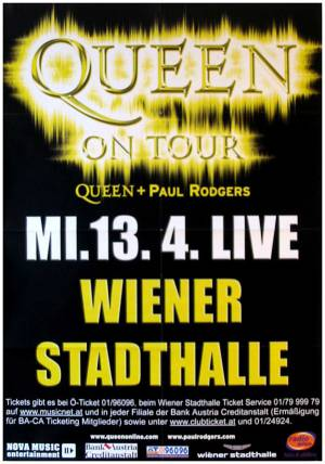 Poster - Queen + Paul Rodgers in Vienna on 13.04.2005