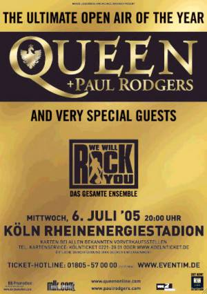 Poster - Queen + Paul Rodgers in Cologne on 06.07.2005