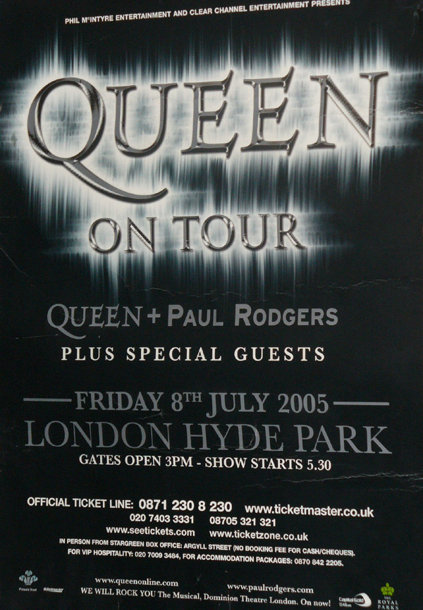 Concert poster: Queen + Paul Rodgers in Hyde Park on 15.07.2005