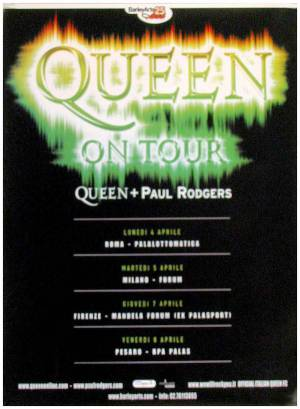 Poster - Queen + Paul Rodgers in Italy in 2005