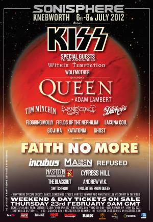 Poster - Queen + Adam Lambert at Sonisphere in Knebworth on 07.07.2012 - cancelled