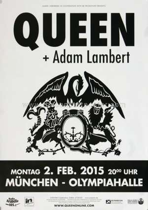 Poster - Queen + Adam Lambert in Munich on 02.02.2015