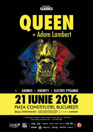 Poster - Queen + Adam Lambert in Bucharest on 21.06.2016