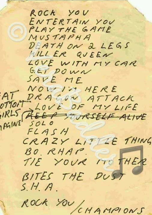Very rare Queen setlist (Dortmund 21.01.1979) taken from the stage - given by Jobby to a fan