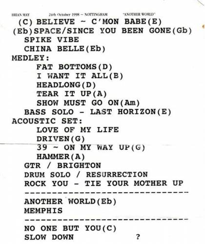 Setlist - Brian May in Nottingham, 24.10.1998