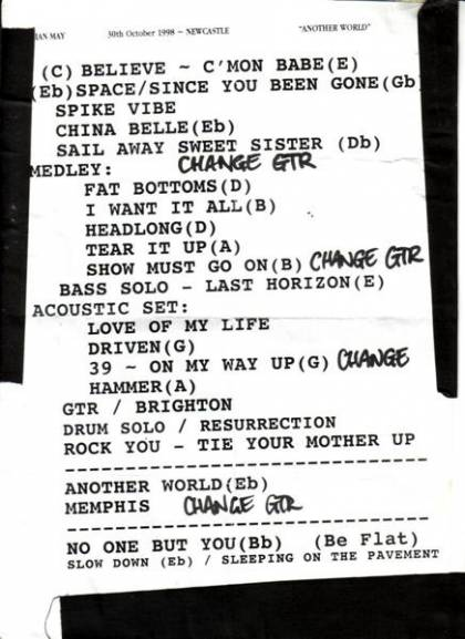 Setlist - Brian May in Newcastle, 30.10.1998