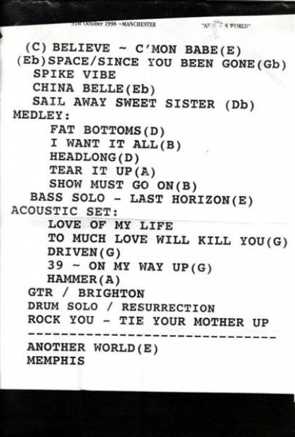 Setlist - Brian May in Manchester, 31.10.1998
