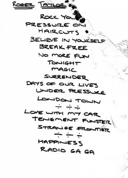 Setlist - Roger Taylor in the UK, March 1999