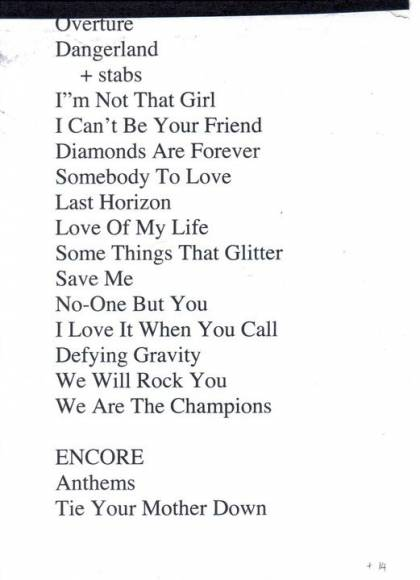 Setlist - Kerry Ellis in Sheffield, 06.05.2011 - (with Brian)