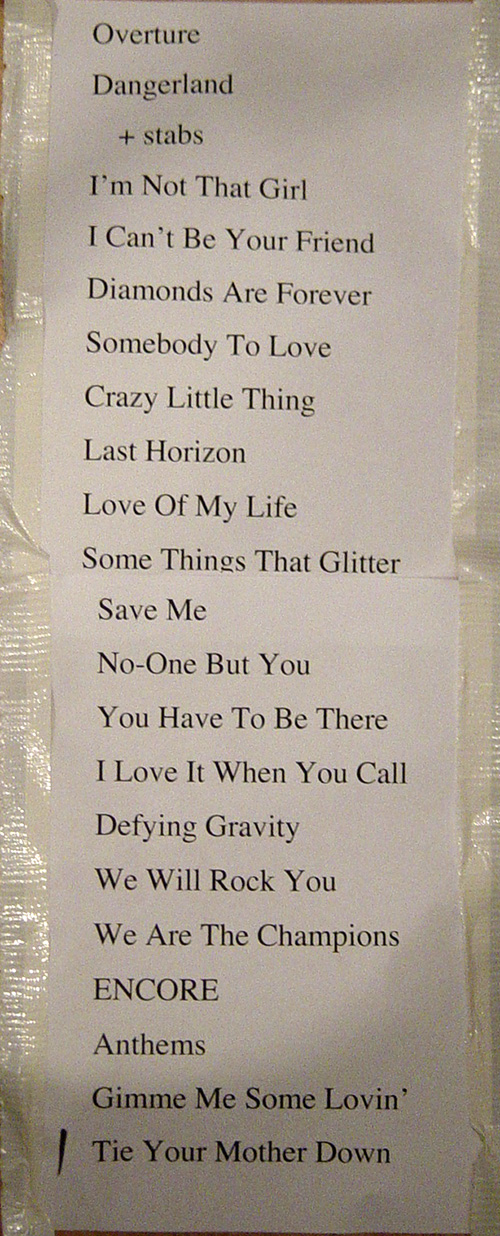 Stage setlist: Kerry Ellis with Brian May in Southend (2011)